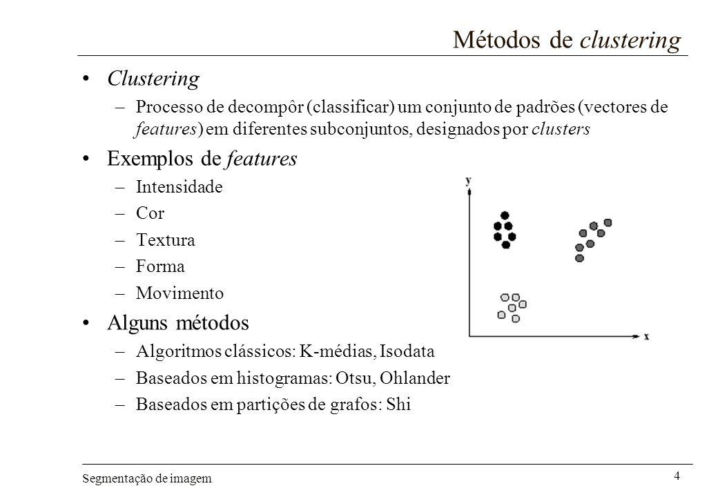 Métodos de clustering Clustering Exemplos de features Alguns métodos