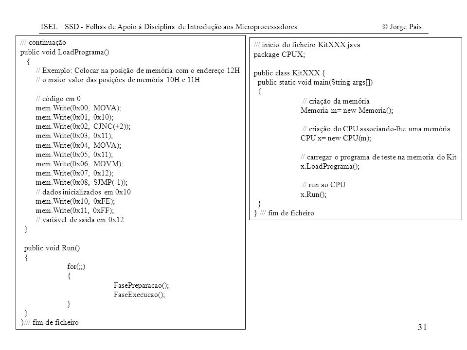 /// continuação public void LoadPrograma() { // Exemplo: Colocar na posição de memória com o endereço 12H.