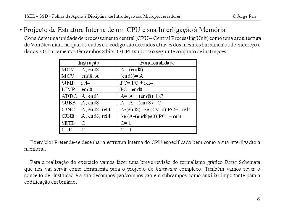 Projecto da Estrutura Interna de um CPU e sua Interligação à Memória