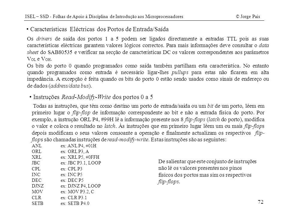 Características Eléctricas dos Portos de Entrada/Saída