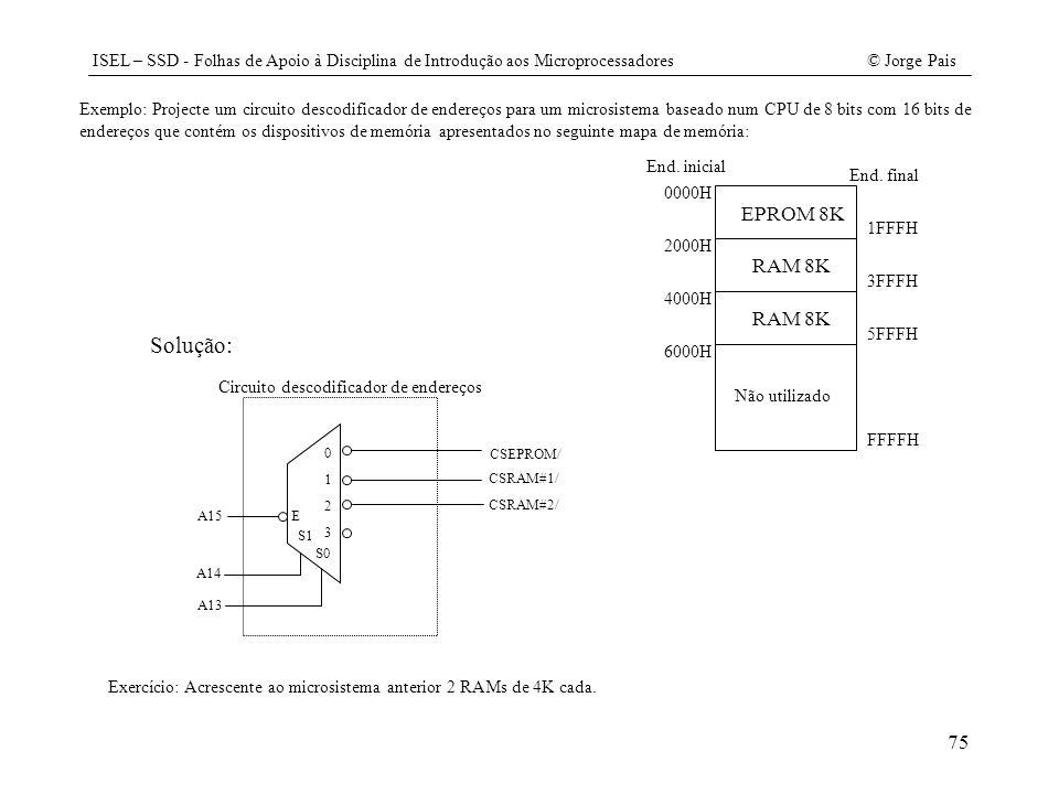 Exemplo: Projecte um circuito descodificador de endereços para um microsistema baseado num CPU de 8 bits com 16 bits de endereços que contém os dispositivos de memória apresentados no seguinte mapa de memória: