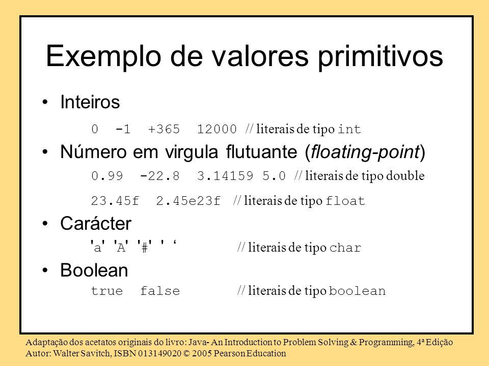 Exemplo de valores primitivos