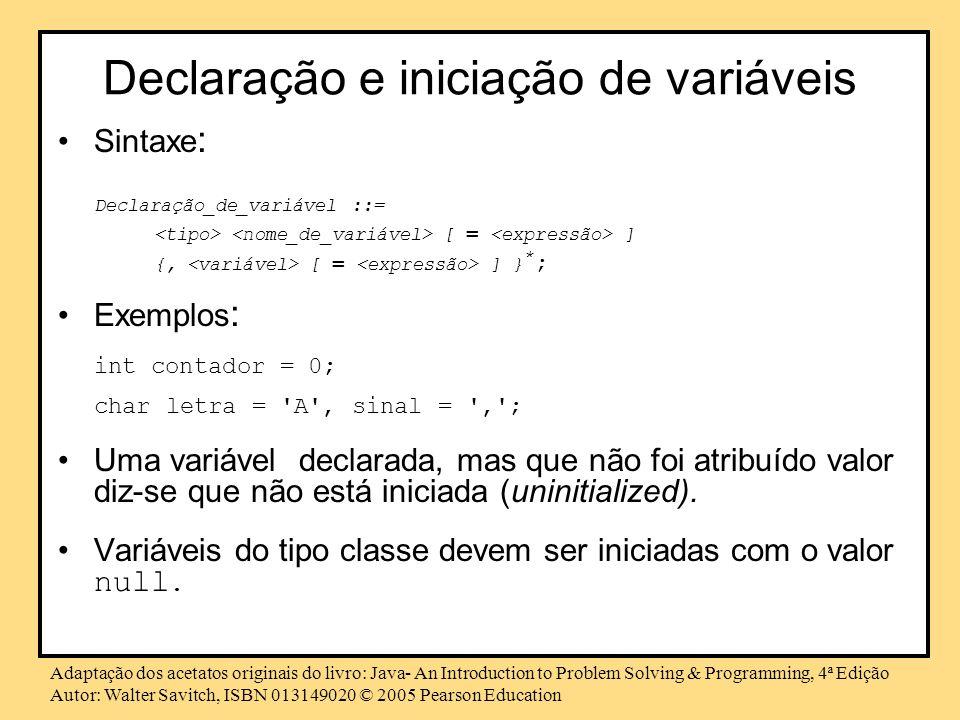 Declaração e iniciação de variáveis