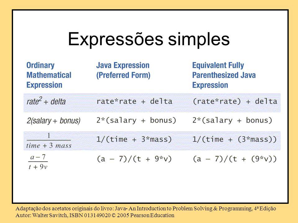 Expressões simples Adaptação dos acetatos originais do livro: Java- An Introduction to Problem Solving & Programming, 4ª Edição.