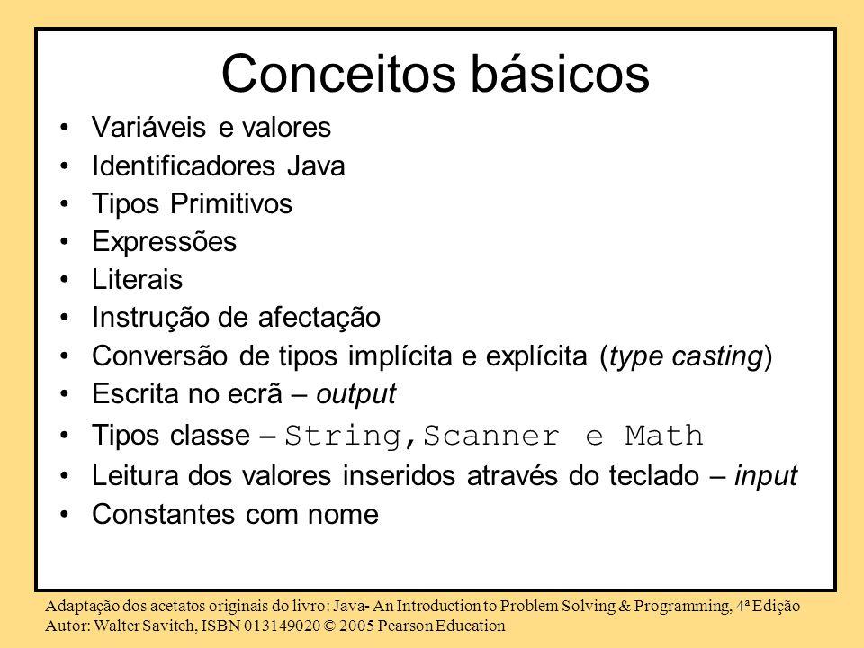 Conceitos básicos Variáveis e valores Identificadores Java