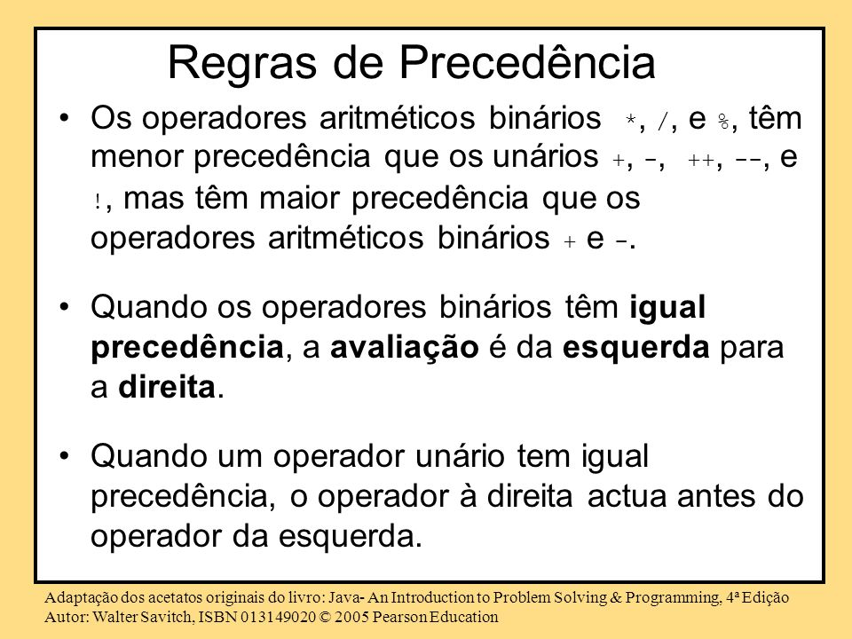 Regras de Precedência