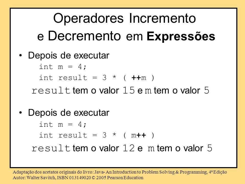 Operadores Incremento e Decremento em Expressões