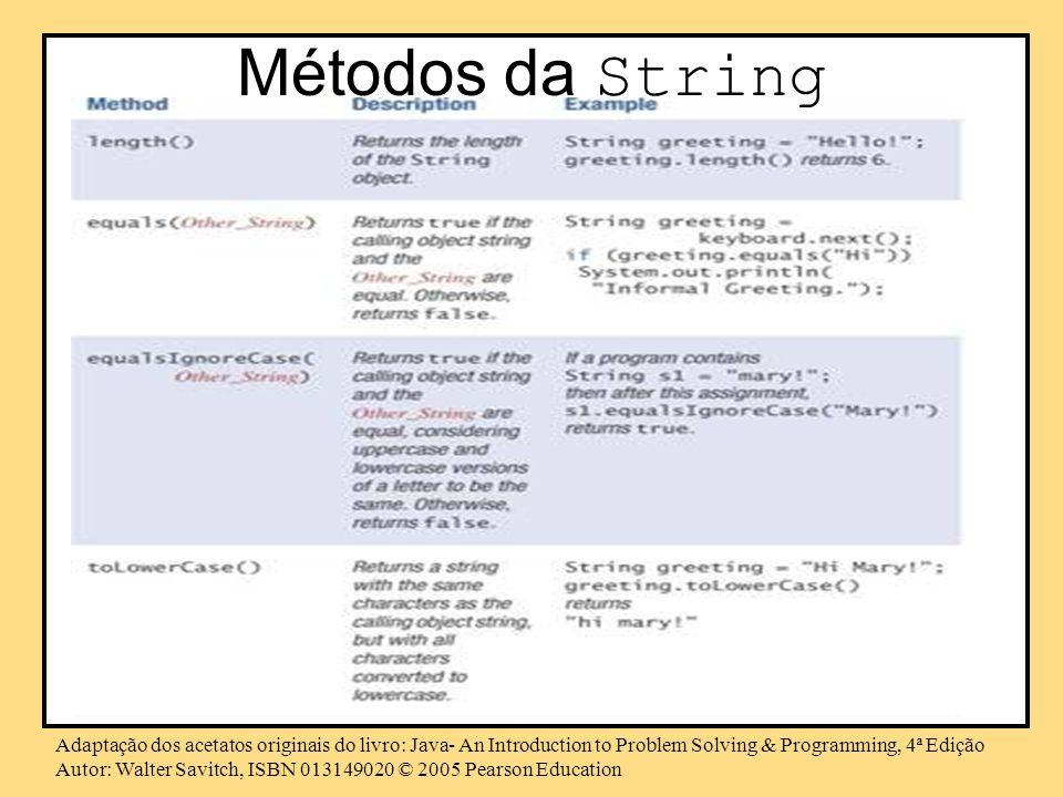 Métodos da String Adaptação dos acetatos originais do livro: Java- An Introduction to Problem Solving & Programming, 4ª Edição.