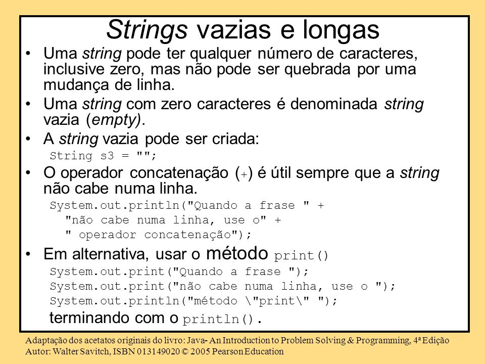 Strings vazias e longas