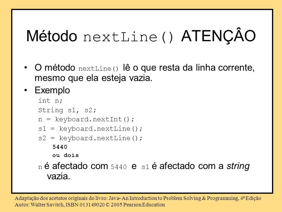 Método nextLine() ATENÇÂO