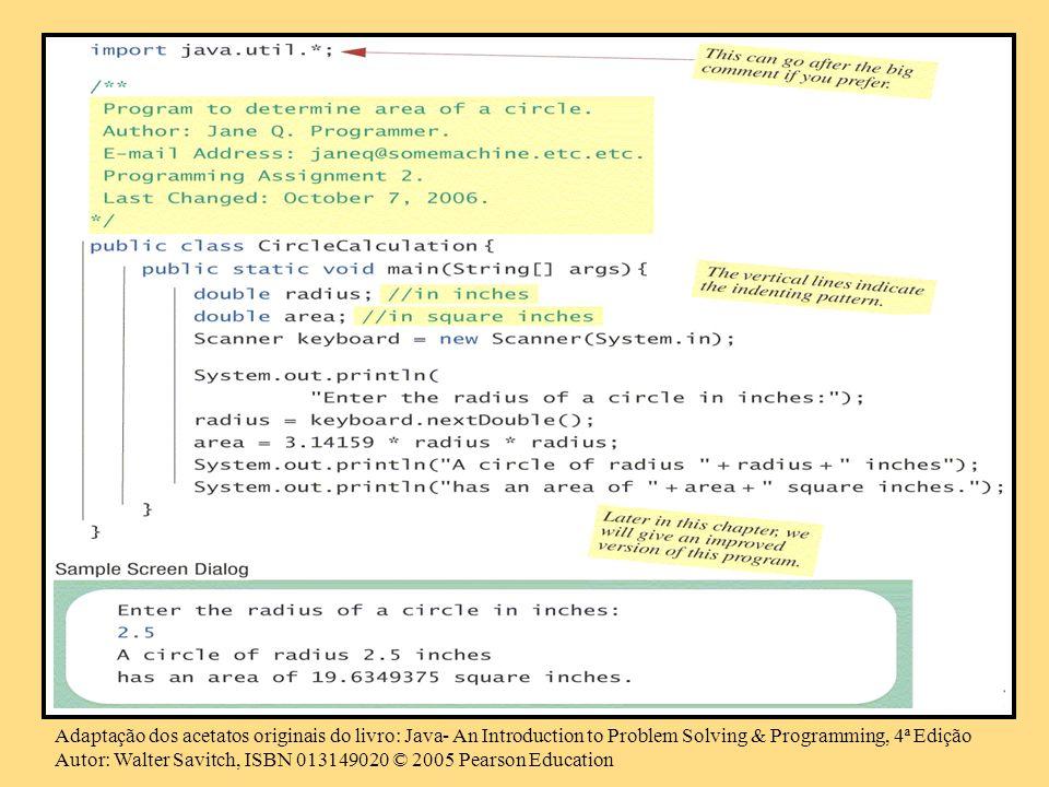 Adaptação dos acetatos originais do livro: Java- An Introduction to Problem Solving & Programming, 4ª Edição