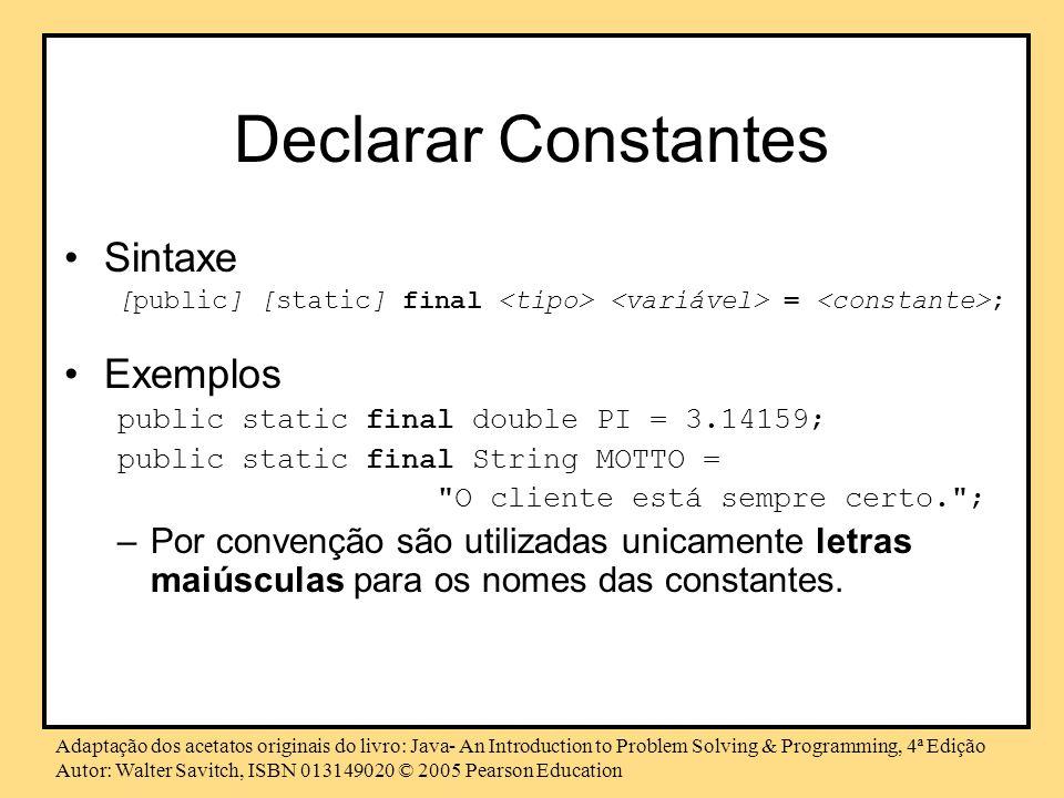 Declarar Constantes Sintaxe Exemplos