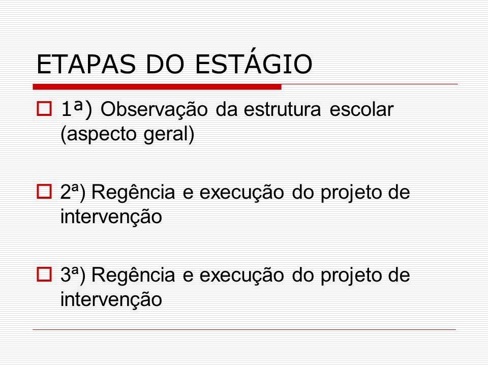 ETAPAS DO ESTÁGIO 1ª) Observação da estrutura escolar (aspecto geral)