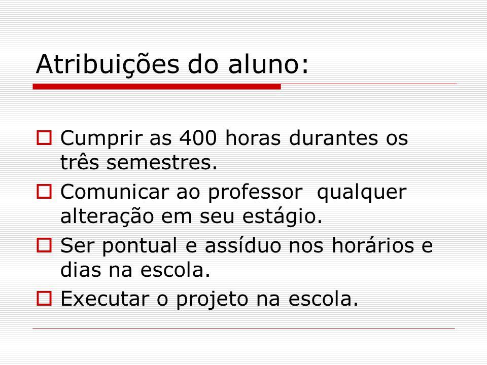 Atribuições do aluno: Cumprir as 400 horas durantes os três semestres.