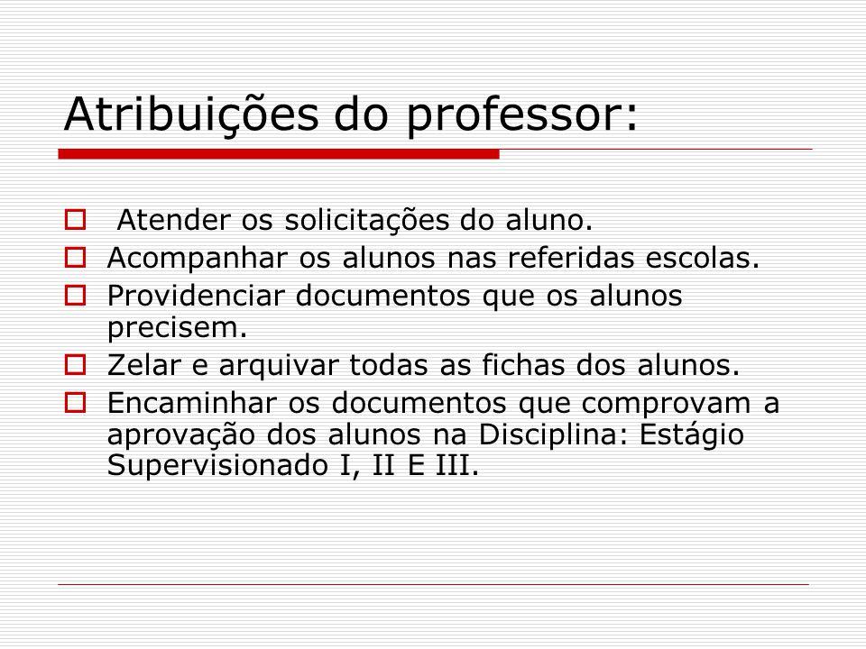 Atribuições do professor: