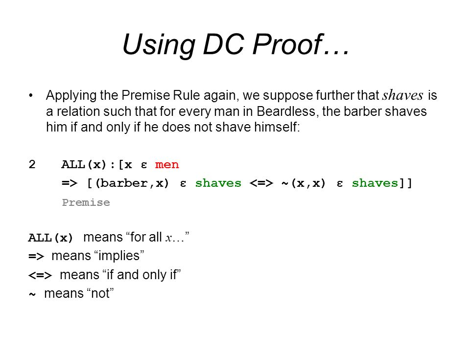 Using DC Proof…