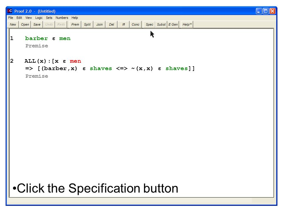 Click the Specification button