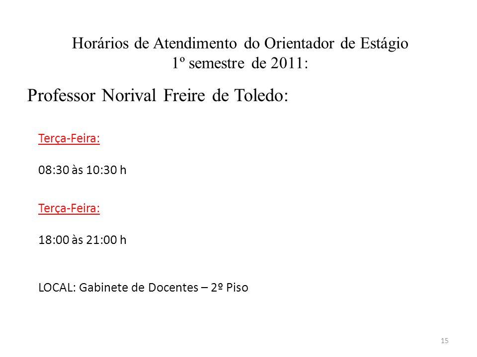 Horários de Atendimento do Orientador de Estágio 1º semestre de 2011: