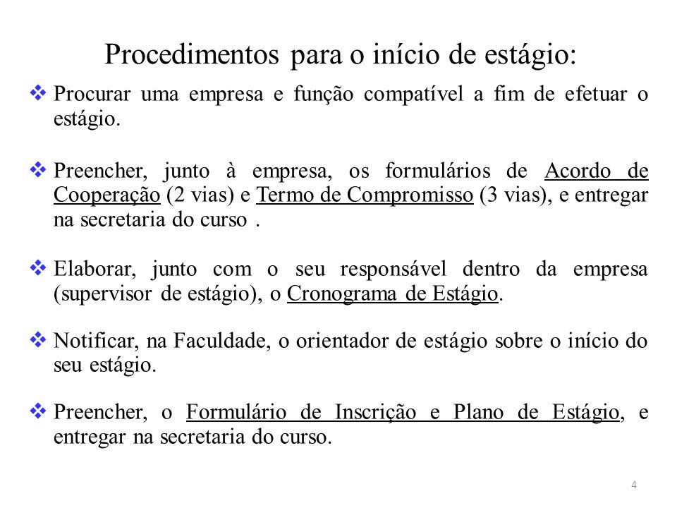 Procedimentos para o início de estágio: