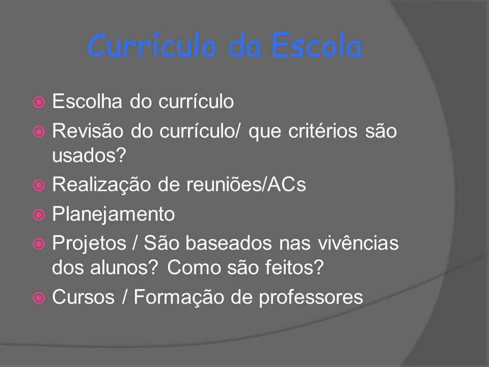 Currículo da Escola Escolha do currículo