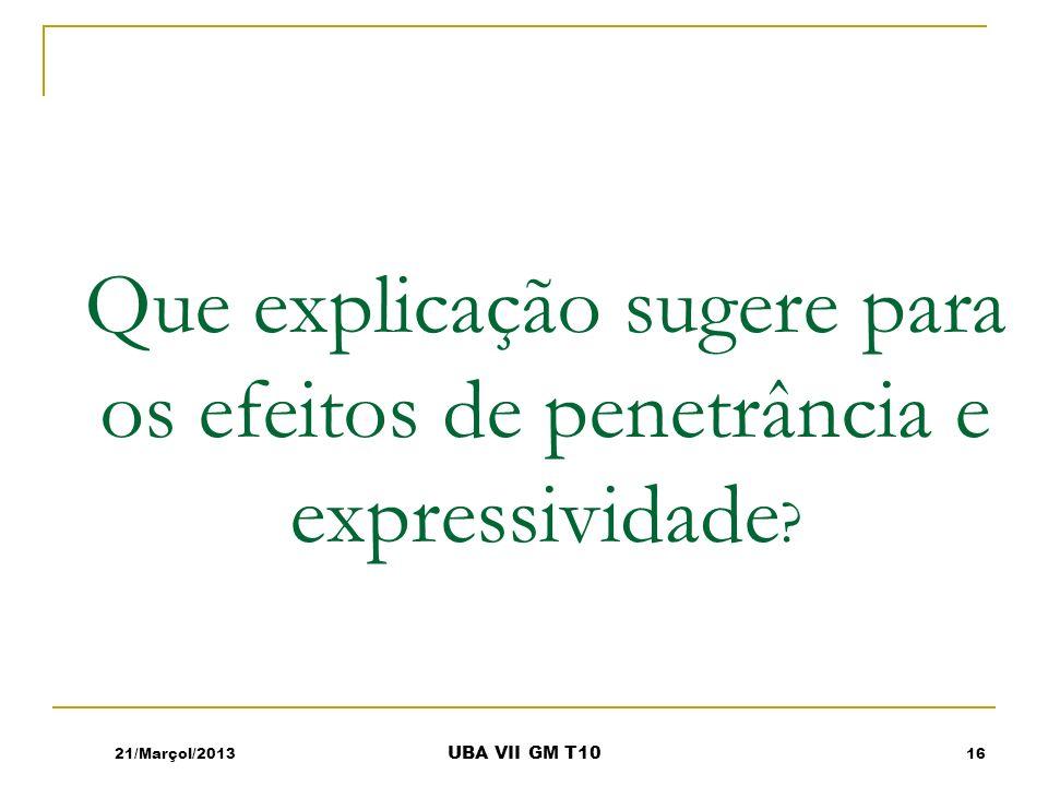 Que explicação sugere para os efeitos de penetrância e expressividade