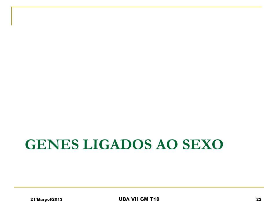 Genes ligados ao sexo 21/Marçol/2013 UBA VII GM T10