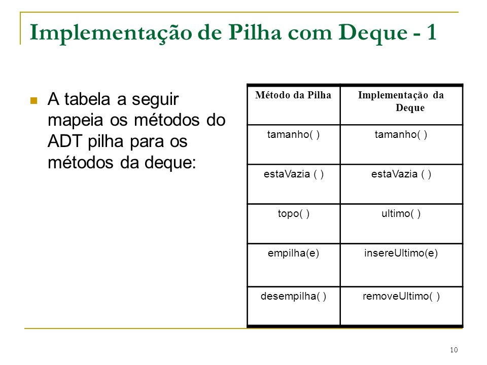 Implementação de Pilha com Deque - 1