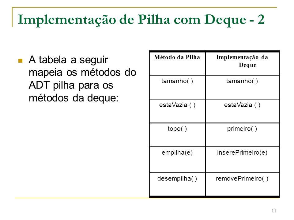 Implementação de Pilha com Deque - 2