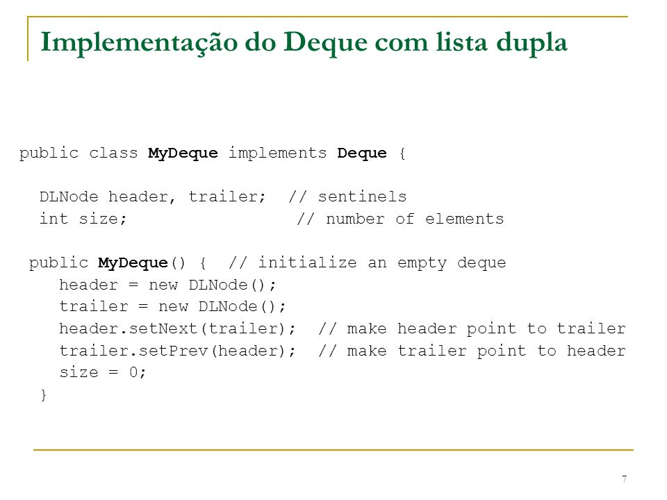 Implementação do Deque com lista dupla