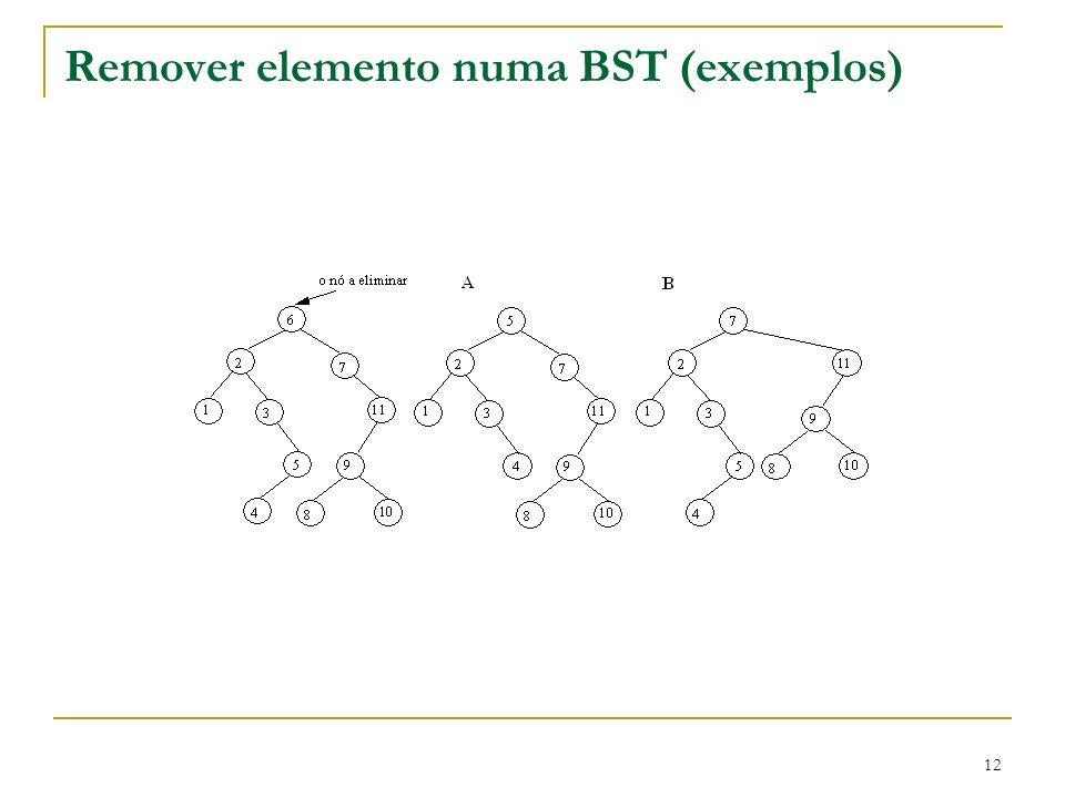 Remover elemento numa BST (exemplos)