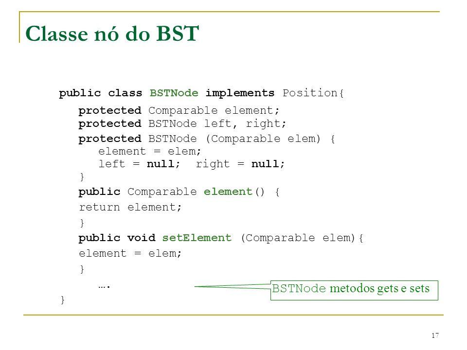 Classe nó do BST public class BSTNode implements Position{