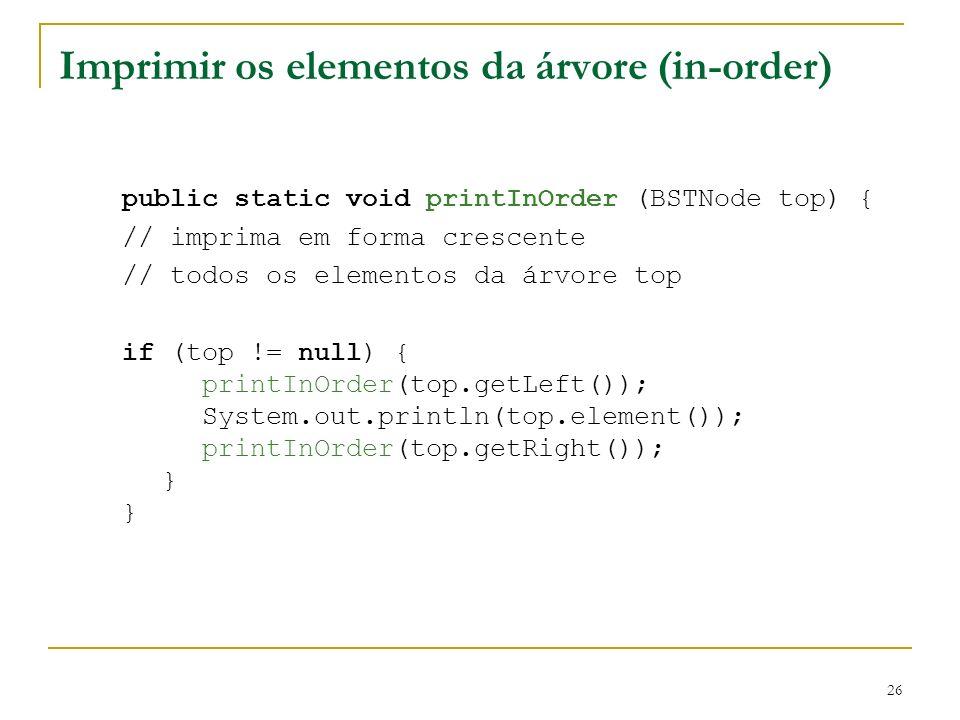 Imprimir os elementos da árvore (in-order)