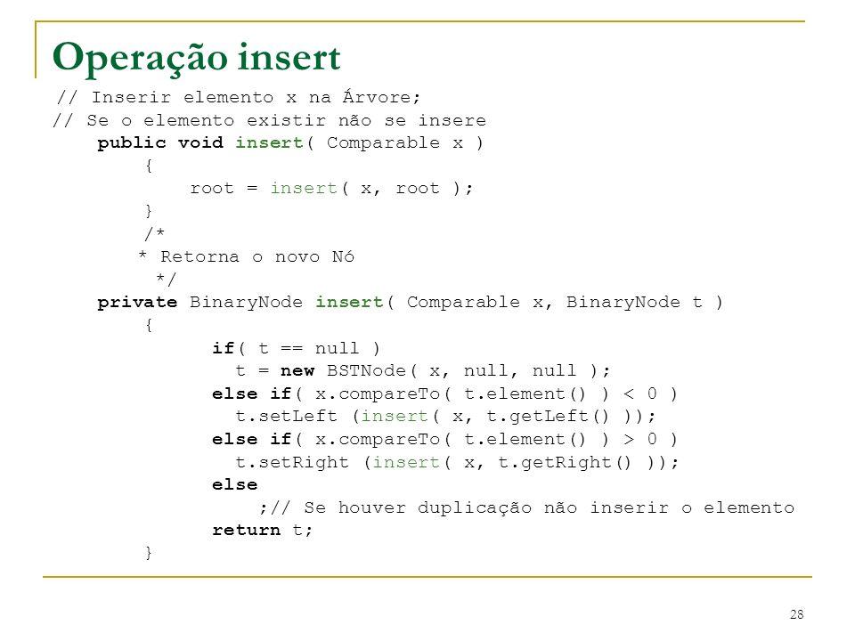 Operação insert // Se o elemento existir não se insere