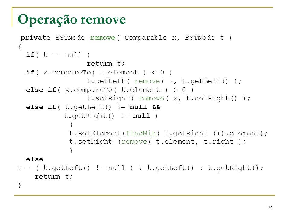 Operação remove { if( t == null ) return t;