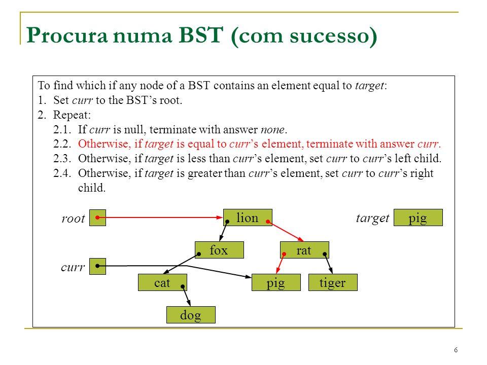 Procura numa BST (com sucesso)