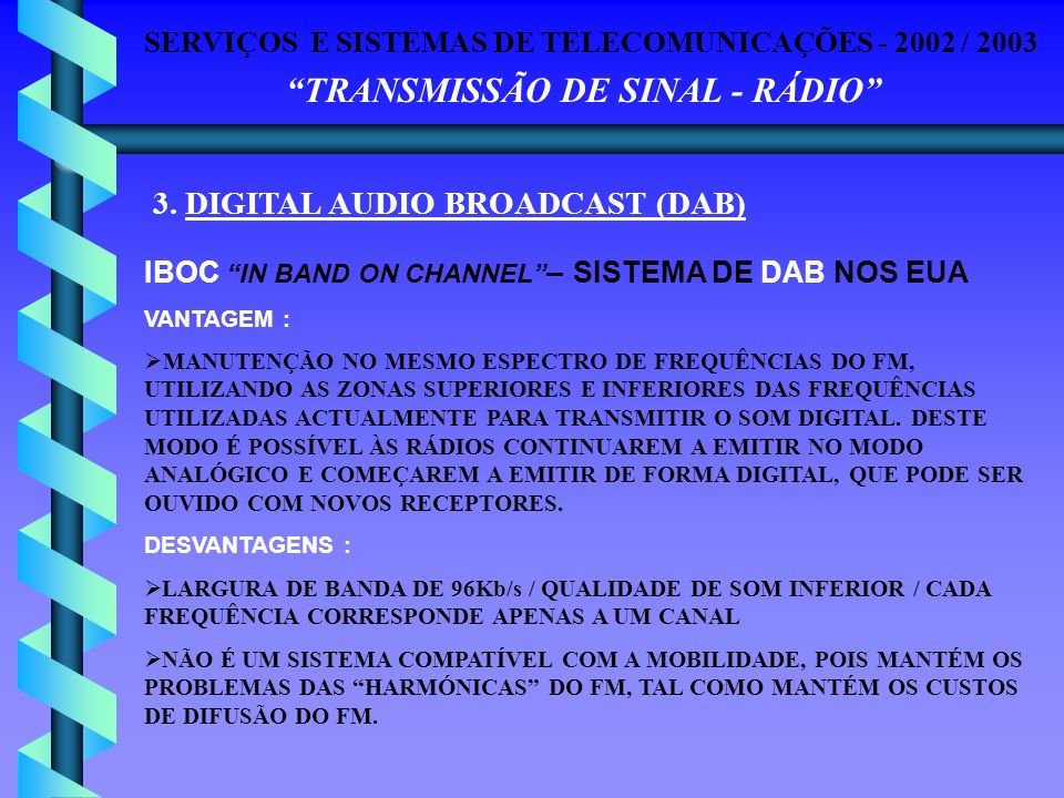 3. DIGITAL AUDIO BROADCAST (DAB)