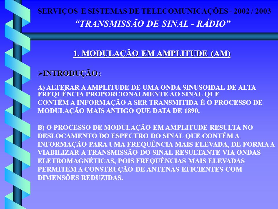 1. MODULAÇÃO EM AMPLITUDE (AM)