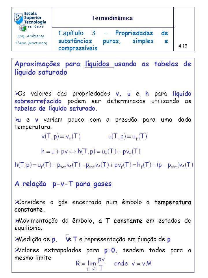 Aproximações para líquidos usando as tabelas de líquido saturado