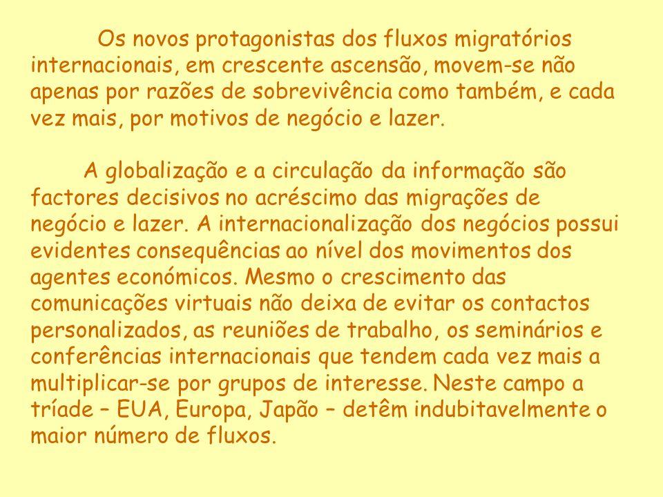 Os novos protagonistas dos fluxos migratórios internacionais, em crescente ascensão, movem-se não apenas por razões de sobrevivência como também, e cada vez mais, por motivos de negócio e lazer.