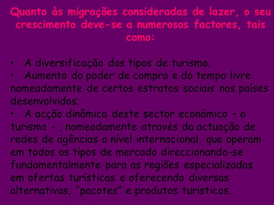 Quanto às migrações consideradas de lazer, o seu crescimento deve-se a numerosos factores, tais como: