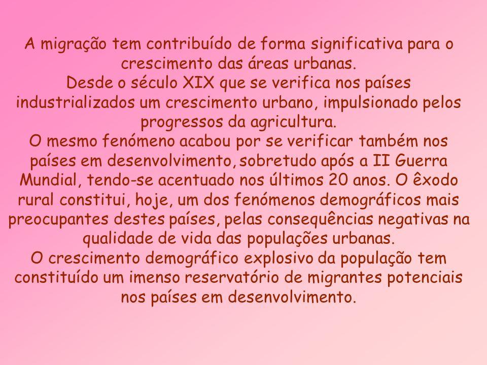 A migração tem contribuído de forma significativa para o crescimento das áreas urbanas.