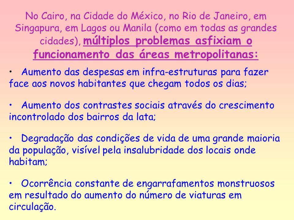 No Cairo, na Cidade do México, no Rio de Janeiro, em Singapura, em Lagos ou Manila (como em todas as grandes cidades), múltiplos problemas asfixiam o funcionamento das áreas metropolitanas: