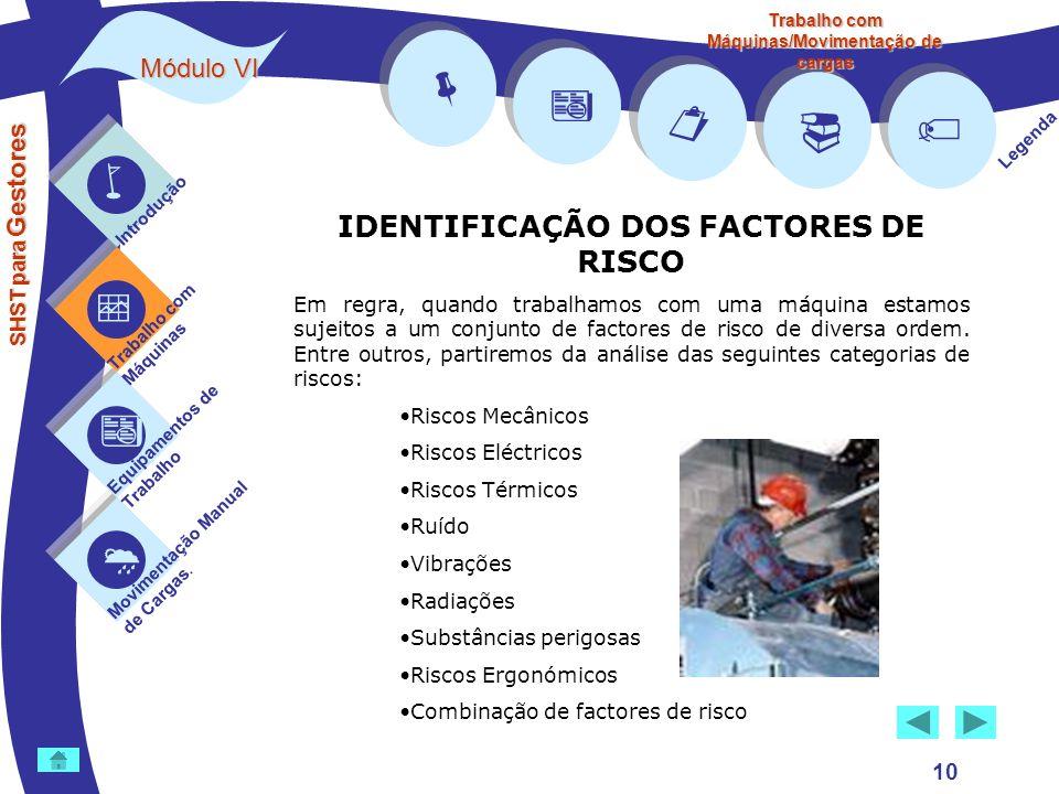         IDENTIFICAÇÃO DOS FACTORES DE RISCO Módulo VI 10 
