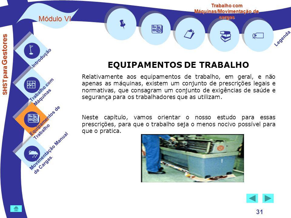 Trabalho com Máquinas/Movimentação de cargas EQUIPAMENTOS DE TRABALHO