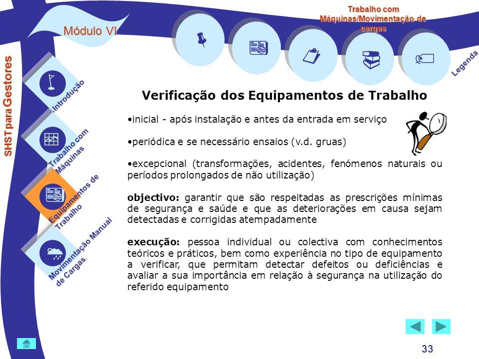         Módulo VI Verificação dos Equipamentos de Trabalho 33