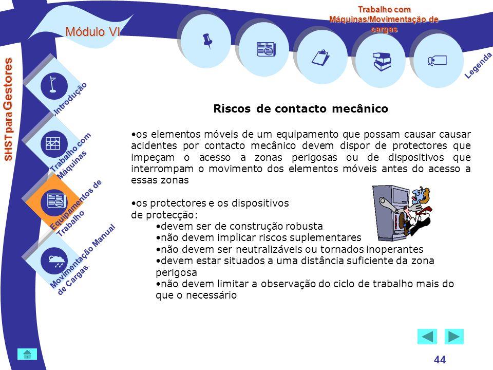         Módulo VI Riscos de contacto mecânico 44 