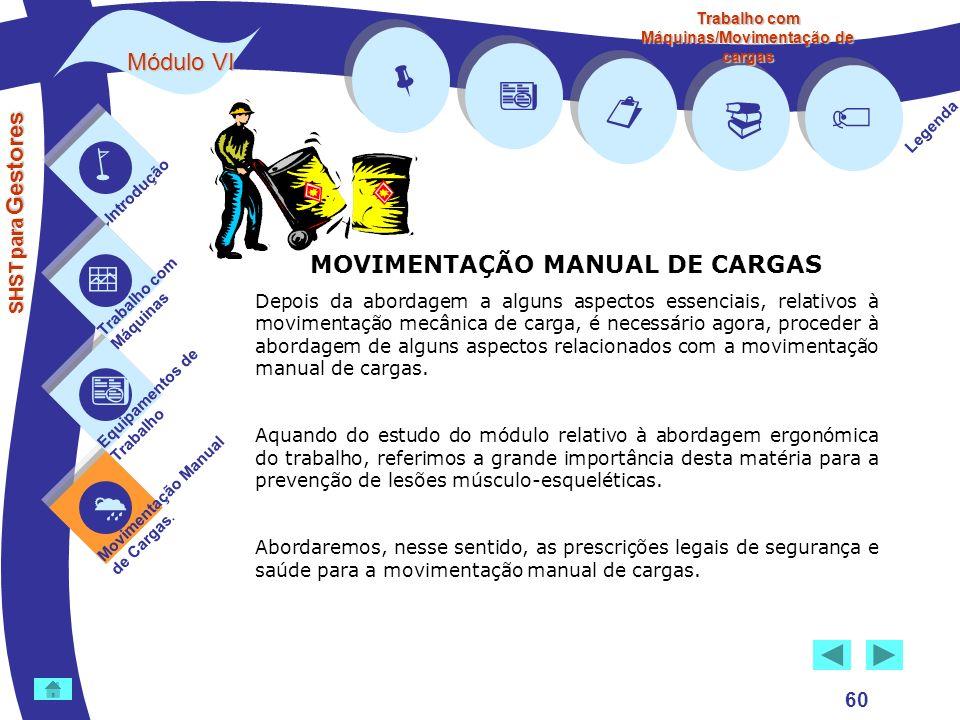         Módulo VI MOVIMENTAÇÃO MANUAL DE CARGAS 60 