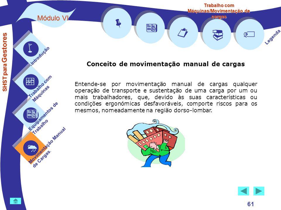         Módulo VI Conceito de movimentação manual de cargas 61