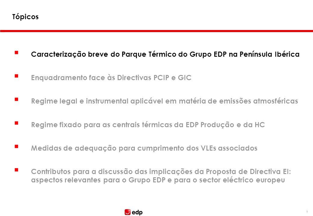 Tópicos Caracterização breve do Parque Térmico do Grupo EDP na Península Ibérica. Enquadramento face às Directivas PCIP e GIC.