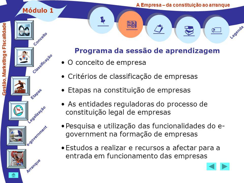     Programa da sessão de aprendizagem